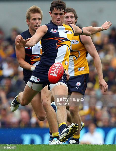 Ashley Smith of the Eagles looks to kick the ball during the round eight AFL match between the West Coast Eagles and the Fremantle Dockers at...