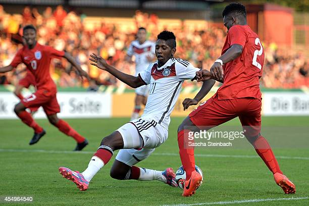 Ashley SmithBrown of England is challenged by Boubacar Barry of Gemany during the international friendly match between U19 Germany and U19 England at...