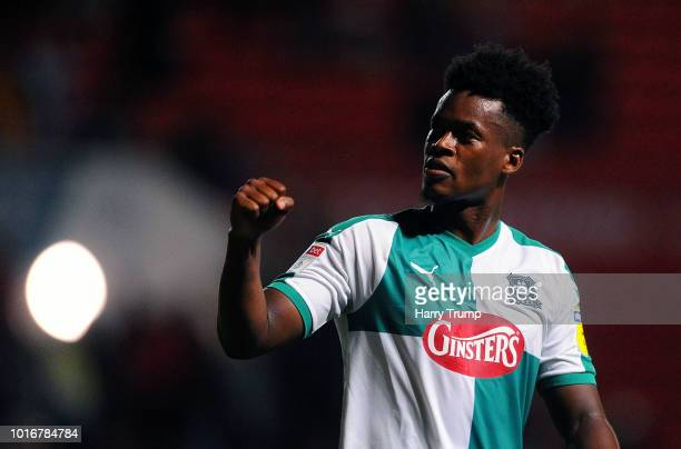 Ashley SmithBrown of Plymouth Argyle celebrates during the Carabao Cup First Round match between Bristol City and Plymouth Argyle at Ashton Gate on...