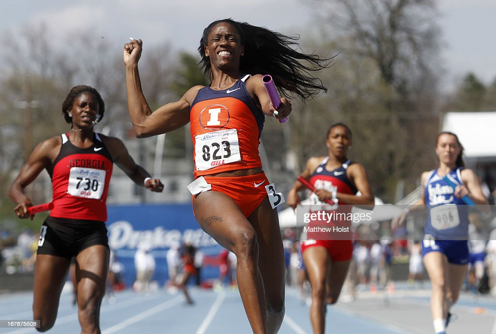 Ashley Spencer, of the Illinois Illini, celebrates after anchoring the Women's 4x100-meter relay at the Drake Relays, on April 27, 2013 at Drake Stadium, in Des Moines, Iowa.