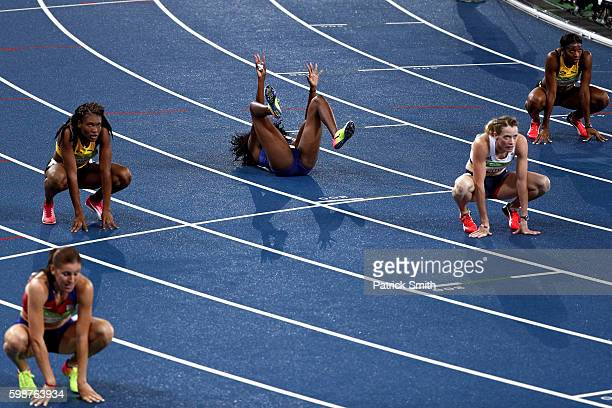 Ashley Spencer of the United States bronze celebrates after the Women's 400m Hurdles Final on Day 13 of the Rio 2016 Olympic Games at the Olympic...