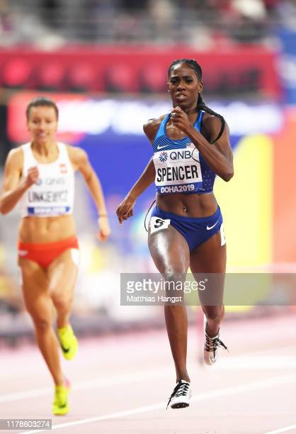 Ashley Spencer of the United States competes in the Women's 400 metres hurdles semi finals during day six of 17th IAAF World Athletics Championships...
