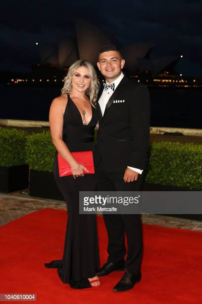 Ashley Taylor and Montana Stenner arrive at the 2018 Dally M Awards at Overseas Passenger Terminal on September 26 2018 in Sydney Australia
