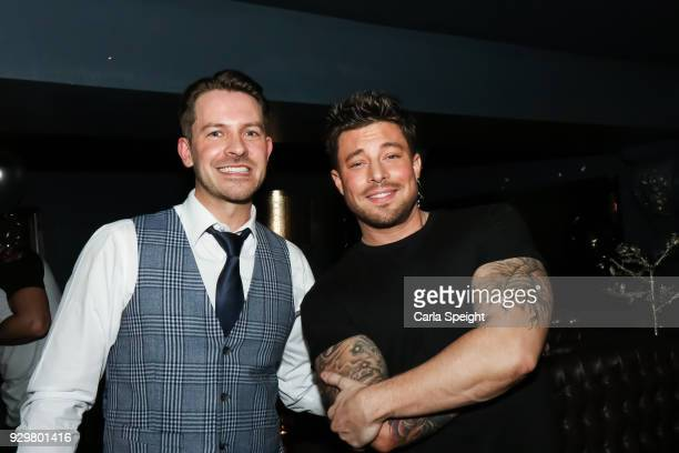 Ashley Taylor Dawson and Duncan James attend the Hollyoaks Open Mic Night at The Symposium Bar on March 8 2018 in Wilmslow England
