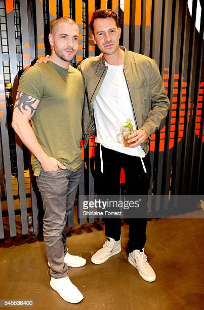 Ashley Taylor Dawson and Shayne Ward attend the exclusive Superdry launch at Arndale Centre #SDArndale on July 8 2016 in Manchester England