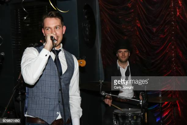Ashley Taylor Dawson performing at the Hollyoaks Open Mic Night at The Symposium Bar on March 8 2018 in Wilmslow England
