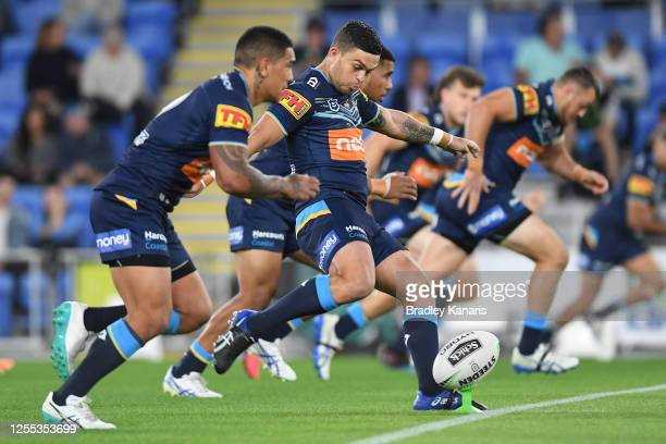Ashley Taylor of the Titans kicks off during the round nine NRL match between the Gold Coast Titans and the New Zealand Warriors at Cbus Super...