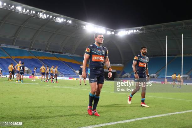 Ashley Taylor of the Titans leaves the field after the round 2 NRL match between the Gold Coast Titans and the Parramatta Eels at Cbus Super Stadium...