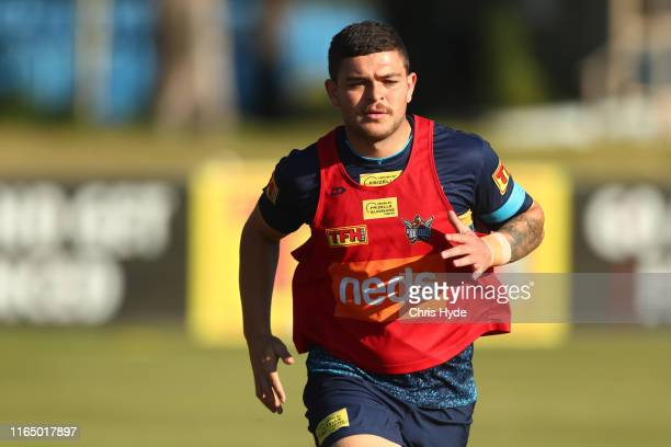 Ashley Taylor runs during a Gold Coast Titans NRL training session at Titans High Performance Centre on July 30, 2019 in Gold Coast, Australia.