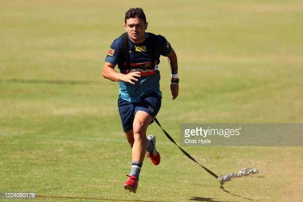 Ashley Taylor runs during a Gold Coast Titans NRL training session at the Titans High Performance Centre on May 11, 2020 in Gold Coast, Australia.