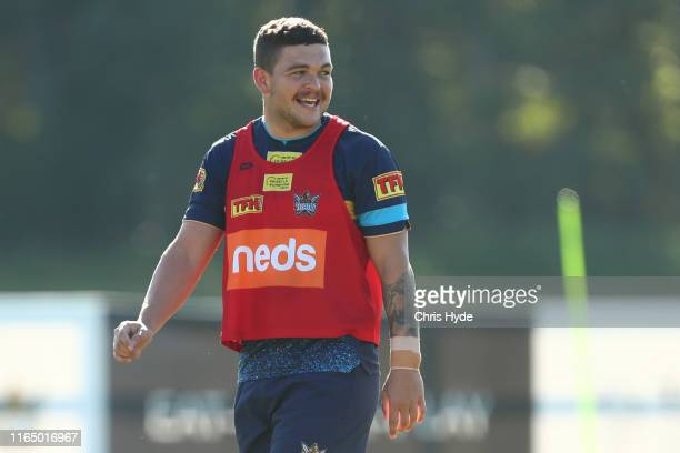 Ashley Taylor smiles during a Gold Coast Titans NRL training session at Titans High Performance Centre on July 30, 2019 in Gold Coast, Australia.