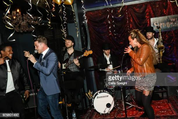 Ashley Tayor Dawson Performing at the Hollyoaks Open Mic Night at The Symposium Bar on March 8 2018 in Wilmslow England