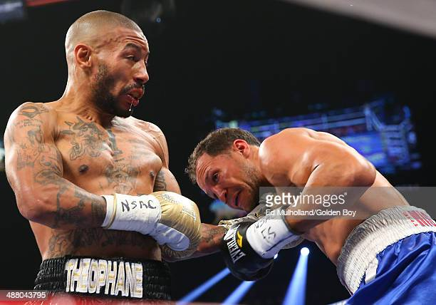 Ashley Theophane lands a left hand to the head of Angino Perez during their welterweight fight at the MGM Grand Garden Arena on May 3, 2014 in Las...