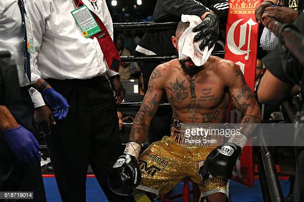 Ashley Theophane looks on after being defeated by TKO in the ninth round by Adrien Broner in their super lightweight championship bout at the DC...