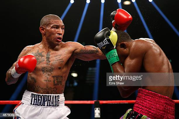 Ashley Theophane throws a left at Steven Upsher during their junior welterweight fight at MGM Grand Garden Arena on September 12, 2015 in Las Vegas,...