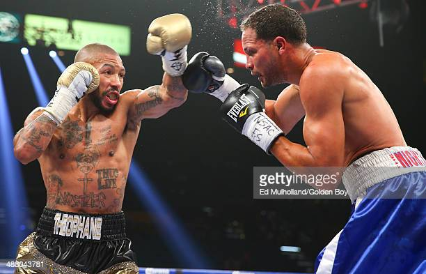 Ashley Theophane throws a left hand to the head of Angino Perez during their welterweight fight at the MGM Grand Garden Arena on May 3, 2014 in Las...