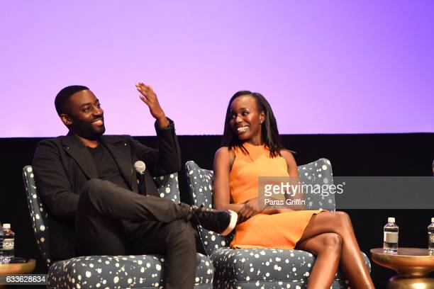 Ashley Thomas and Anna Diop onstage at 5th Annual aTVfest on February 2 2017 at SCADShow in Atlanta Georgia