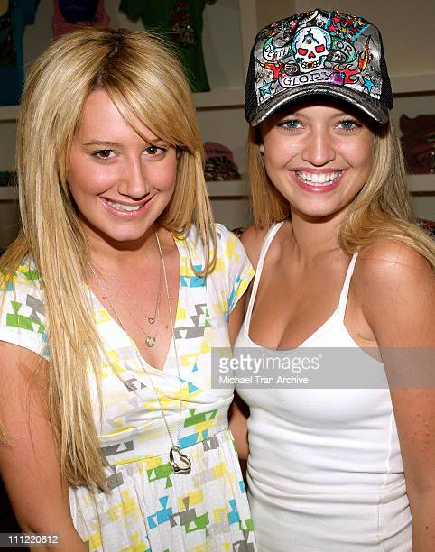 Ashley Tisdale and Lauren Storm during Young Hollywood Rocks Ed Hardy Store May 2 2006 at Ed Hardy Store in Los Angeles California United States