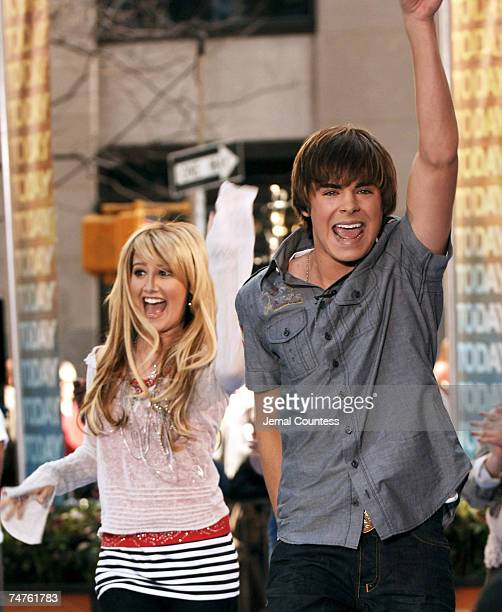 """Ashley Tisdale and Zac Efron of """"High School Musical"""" at the NBC Studios at Rockefeller Plaza in New York City, New York"""
