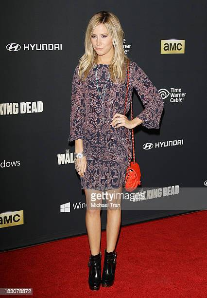 Ashley Tisdale arrives at the Los Angeles premiere of AMC's The Walking Dead 4th season held at Universal CityWalk on October 3 2013 in Universal...