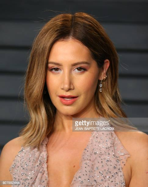Ashley Tisdale attends the 2018 Vanity Fair Oscar Party following the 90th Academy Awards at The Wallis Annenberg Center for the Performing Arts in...