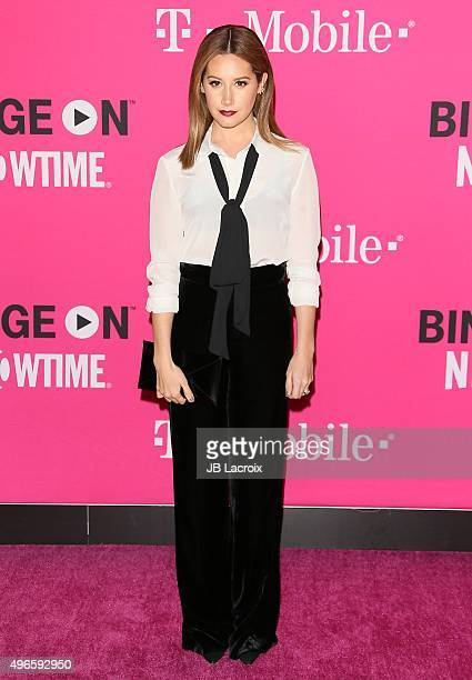 Ashley Tisdale attends the TMobile Uncarrier X launch party at the Shrine Auditorium on November 10 2015 in Los Angeles California