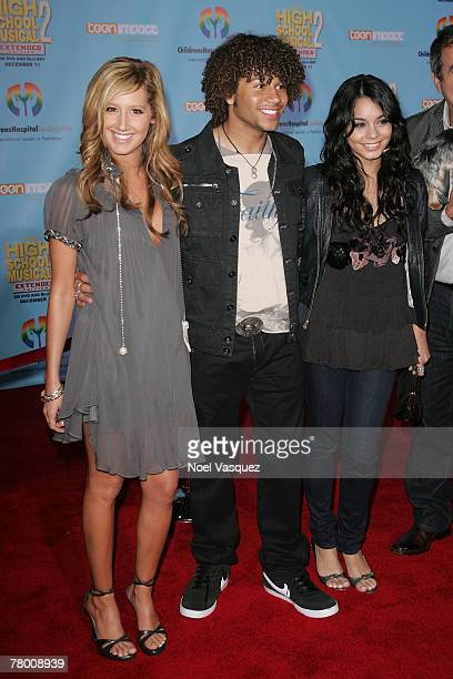 Ashley Tisdale Corbin Bleu and Vanessa Anne Hudgen arrive at the DVD premiere of Disney's 'High School Musical 2' held at the El Capitan Theatre on...