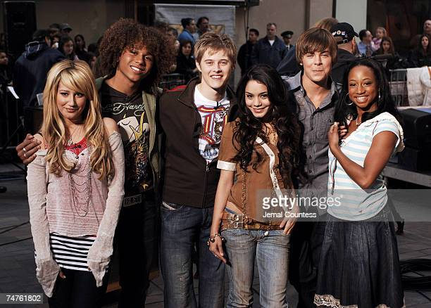 """Ashley Tisdale, Corbin Bleu, Lucas Grabeel, Vanessa Anne Hudgens, Zac Efron and Monique Coleman of """"High School Musical"""" during the Kevin Covais and..."""