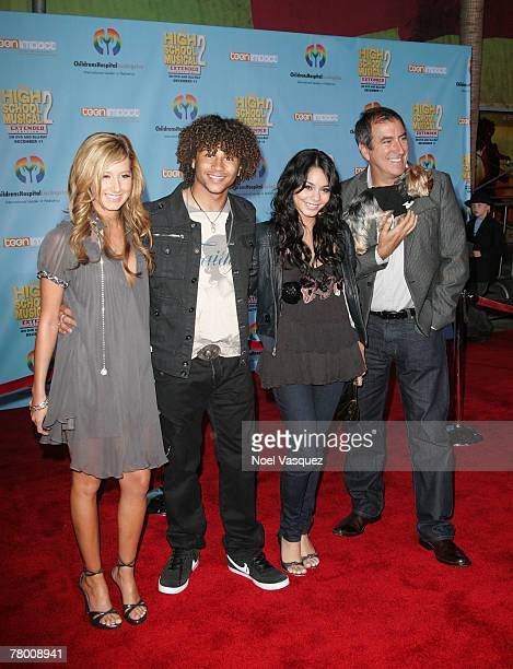 Ashley Tisdale Corbin Bleu Vanessa Anne Hudgen and Kenny Ortega arrive at the DVD premiere of Disney's 'High School Musical 2' held at the El Capitan...