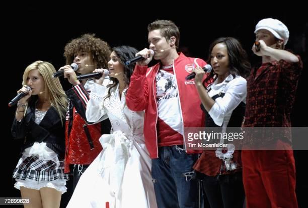 Ashley Tisdale Corbin Bleu Vanessa Hudgens Drew Seeley Monique Coleman and Lucas Grabeel of Disney's High School Musical perform at the HP Pavilion...