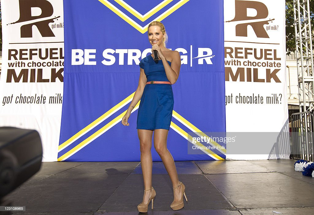 Ashley Tisdale speaks on stage during the 'Be Strong' Challenge with Ashley Tisdale held at The Grove on August 30, 2011 in Los Angeles, California.