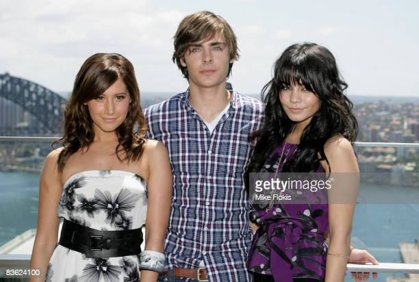 Ashley Tisdale Zac Efron and Vanessa Hudgens pose during a photo call for High School Musical 3 at the Intercontinental Hotel on November 10 2008 in...