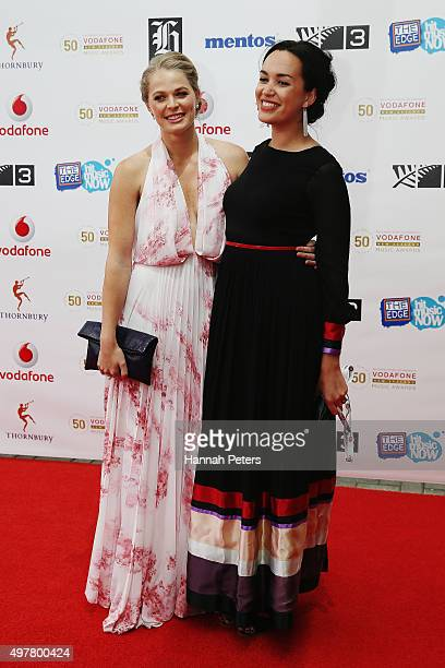 Ashley Tullock and Kanoa Lloyd from Media Works pose for a photo on the red carpet at the Vodafone New Zealand Music Awards at Vector Arena on...