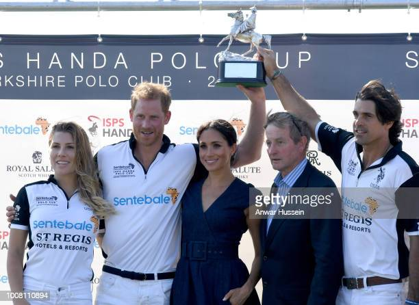 Ashley van Metre Busch Prince Harry Duke of Sussex Meghan Duchess of Sussex Enda Kenny and Nacho Figuares pose with the Sentebale Polo 2018 trophy...