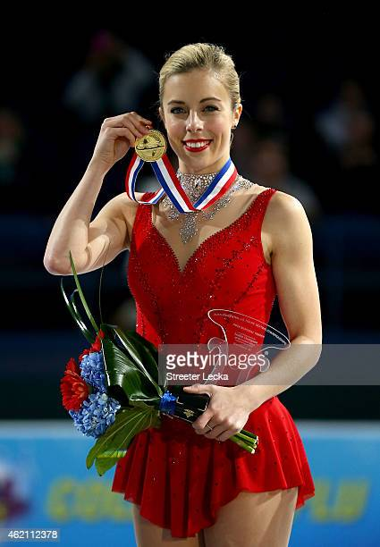 Ashley Wagner celebrates after winning the Championship Ladies Free Skate Program Competition during day 3 of the 2015 Prudential US Figure Skating...