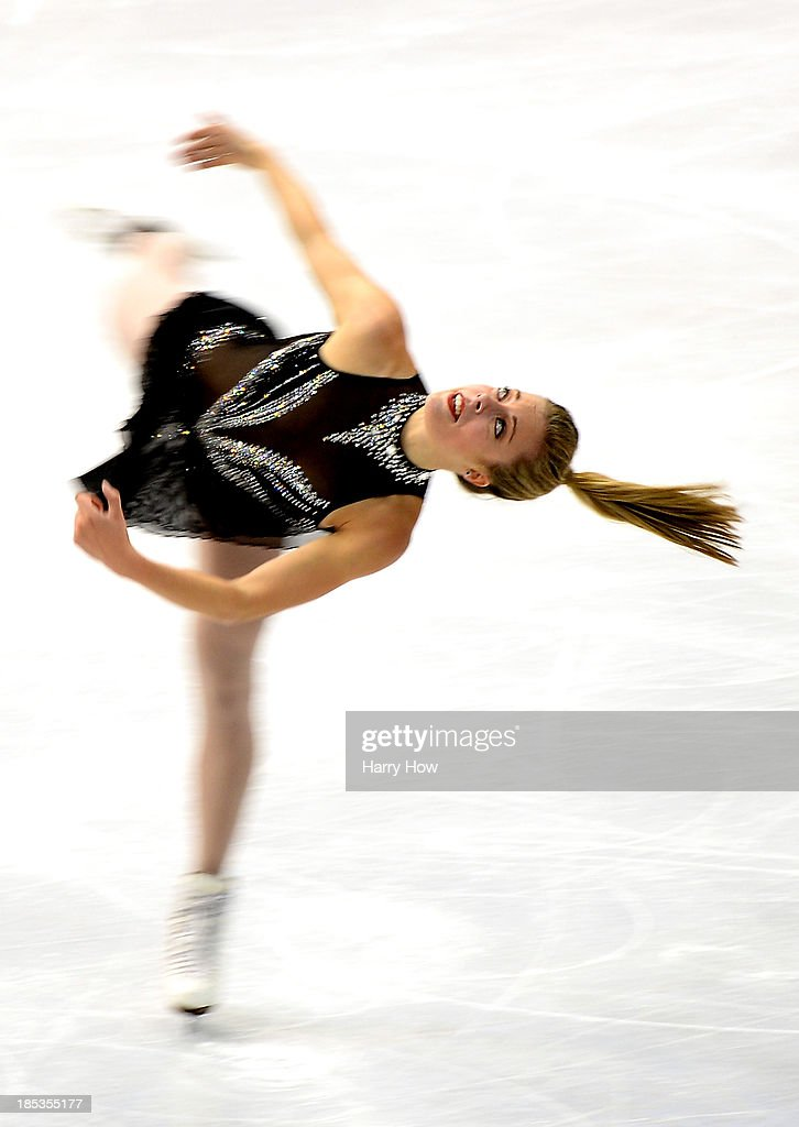 Ashley Wagner competes in the ladies short program at Skate America 2013 at Joe Louis Arena on October 19, 2013 in Detroit, Michigan.