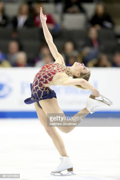 Ashley Wagner competes in the Ladies Short Program during the 2018 Prudential US Figure Skating Championships at the SAP Center on January 3 2018 in...