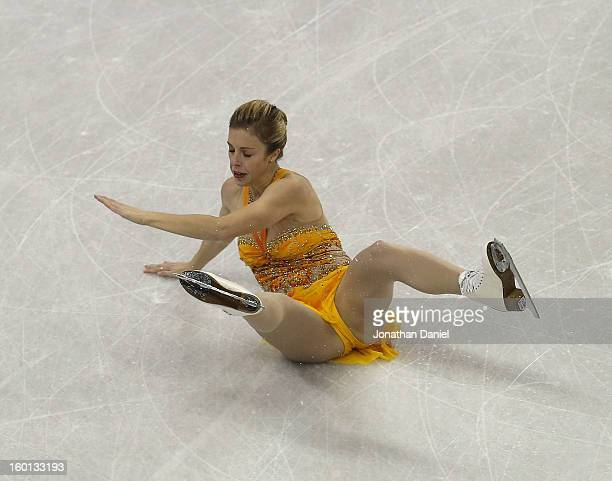 Ashley Wagner falls while competing in the Ladies Free Skate during the 2013 Prudential US Figure Skating Championships at CenturyLink Center on...