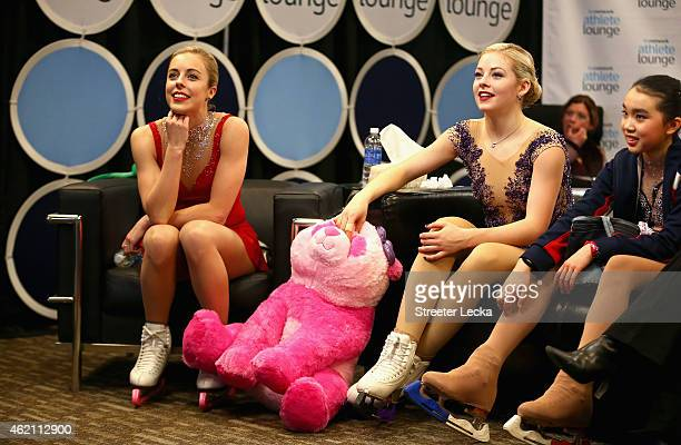 Ashley Wagner Gracie Gold and Karen Chen wait for the final scores in the Championship Ladies Free Skate Program Competition during day 3 of the 2015...