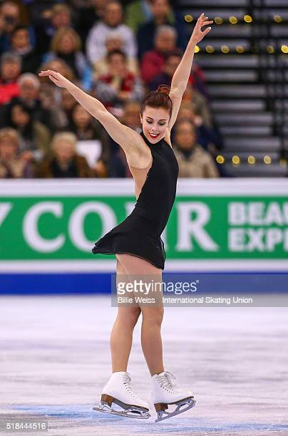 Ashley Wagner of the United States competes during Day 4 of the ISU World Figure Skating Championships 2016 at TD Garden on March 31 2016 in Boston...