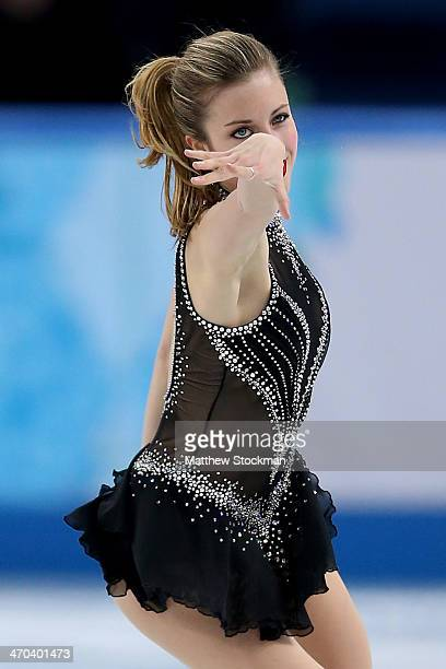 Ashley Wagner of the United States competes in the Figure Skating Ladies' Short Program on day 12 of the Sochi 2014 Winter Olympics at Iceberg...