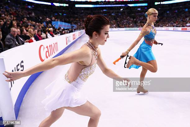 Ashley Wagner of the United States enters the ice to practice before the Ladies Free Skate on Day 6 of the ISU World Figure Skating Championships...