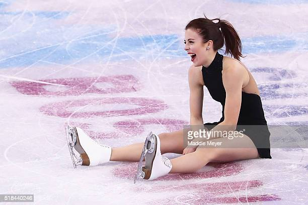 Ashley Wagner of the United States laughs after falling while celebrating at the end of her routine in the Ladies Short Program during Day 4 of the...