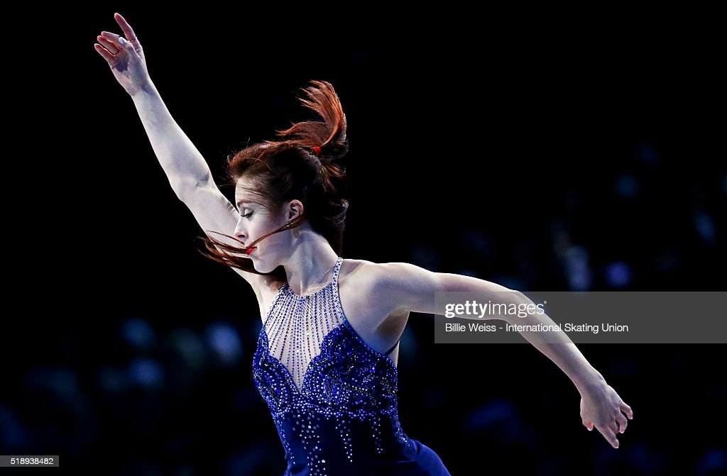 Ashley Wagner of the United States performs during the exhibition of champions during Day 7 of the ISU World Figure Skating Championships 2016 at TD Garden on April 3, 2016 in Boston, Massachusetts.