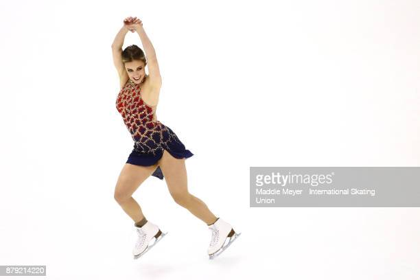 Ashley Wagner of the United States performs in the Ladies short program on Day 2 of the ISU Grand Prix of Figure Skating at Herb Brooks Arena on...