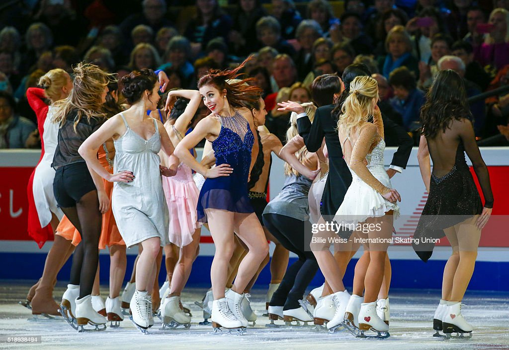 Ashley Wagner of the United States performs with fellow skaters during the exhibition of champions during Day 7 of the ISU World Figure Skating Championships 2016 at TD Garden on April 3, 2016 in Boston, Massachusetts.