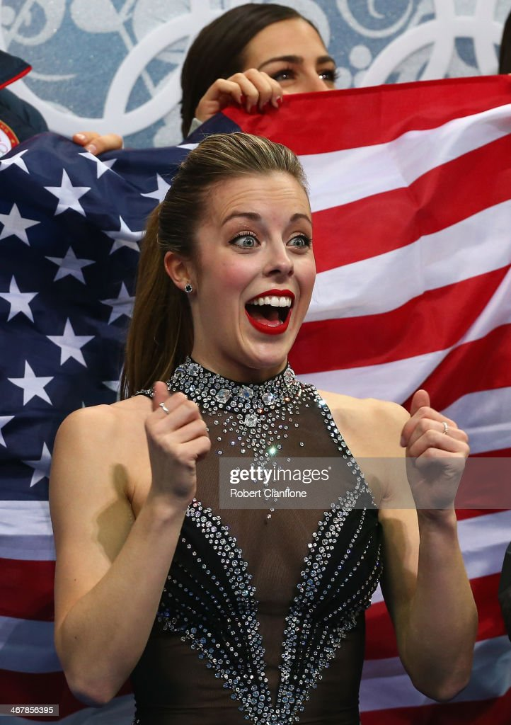 Ashley Wagner of the United States reacts after competing in the Figure Skating Team Ladies Short Program during day one of the Sochi 2014 Winter Olympics at Iceberg Skating Palace on February 8, 2014 in Sochi, Russia.