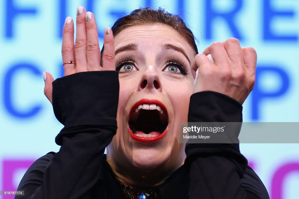Ashley Wagner of the United States reacts after hearing her score in the Ladies Free Skate program on Day 6 of the ISU World Figure Skating Championships 2016 at TD Garden on April 2, 2016 in Boston, Massachusetts.