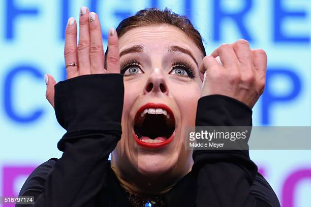 Ashley Wagner of the United States reacts after hearing her score in the Ladies Free Skate program on Day 6 of the ISU World Figure Skating...