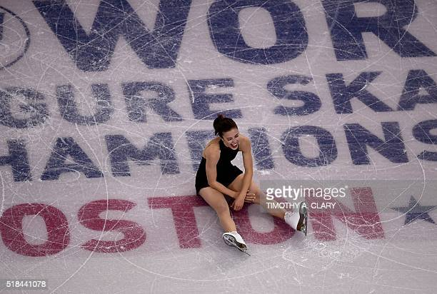 Ashley Wagner of the United States sits on the ice after she performed her short program in the Ladies competition at the ISU World Figure Skating...